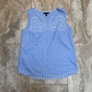 J Crew Embroidered Circles Sleeveless Blouse Top